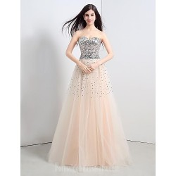 Australia Formal Evening Dress Champagne Petite A-line Strapless Long Floor-length Tulle Dress Sequined