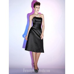 Australia Formal Dresses Cocktail Dress Party Dress Holiday Dress Black Plus Sizes Dresses Petite A-line Strapless Short Knee-length Satin