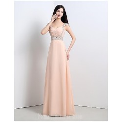 Australia Formal Dress Evening Gowns Pearl Pink A-line Straps Long Floor-length Chiffon