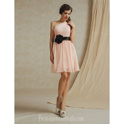 Short Knee-length Chiffon Bridesmaid Dress White Pearl Pink Sky Blue Champagne Lilac A-line Sexy One Shoulder