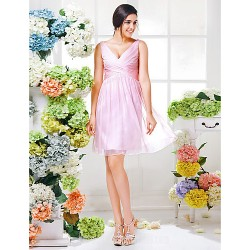 Short Knee-length Chiffon Bridesmaid Dress Blushing Pink Plus Sizes Dresses Petite A-line V-neck