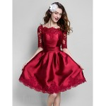Australia Formal Dresses Cocktail Dress Party Dress Burgundy Plus Sizes Dresses Petite Ball Gown Bateau Short Knee-length Satin Formal Dress Australia