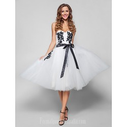 Australia Formal Dresses Cocktail Dress Party Dress Holiday Dress White Plus Sizes Dresses Petite A-line Sweetheart Short Knee-length Tulle