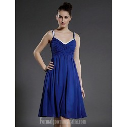 Australia Formal Dresses Cocktail Dress Party Dress Royal Blue Plus Sizes Dresses Petite A-line Princess V-neck Spaghetti Straps Short Knee-length Chiffon