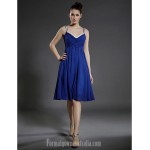 Australia Cocktail Party Dress Royal Blue Plus Sizes Dresses Petite A-line Princess V-neck Spaghetti Straps Short Knee-length Chiffon Formal Dress Australia