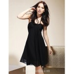 Short Knee-length Chiffon Bridesmaid Dress Black Plus Sizes Dresses Petite A-line Strapless Sweetheart Formal Dress Australia
