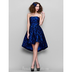 Prom Gowns Company Party Dress Royal Blue Plus Sizes Dresses Petite A-line Strapless Asymmetrical Lace