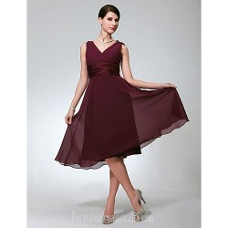 Short Knee Length Chiffon Bridesmaid Dress Burgundy Plus Sizes Dresses Petite A Line V Neck
