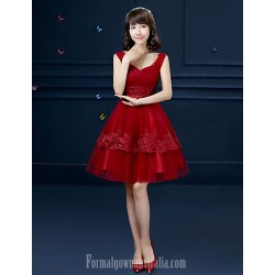 Australia Formal Dress Evening Gowns Burgundy Ball Gown Spaghetti Straps Short Knee-length Tulle