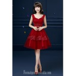 Australia Formal Dress Evening Gowns Burgundy Ball Gown Spaghetti Straps Short Knee-length Tulle Formal Dress Australia