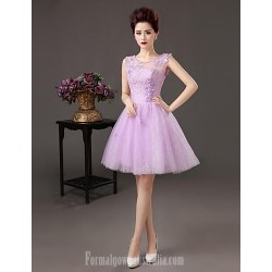 Australia Formal Dresses Cocktail Dress Party Dress Lavender Plus Sizes Dresses A-line Bateau Short Knee-length Satin