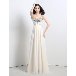 Australia Formal Dress Evening Gowns Champagne Petite A-line Straps Long Floor-length Chiffon Sequined