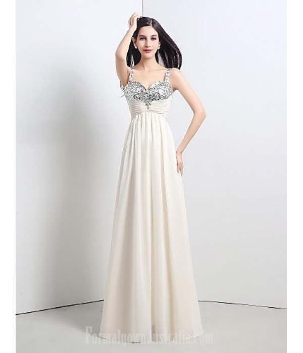 Australia Formal Dress Evening Gowns Champagne Petite A-line Straps Long Floor-length Chiffon Sequined Formal Dress Australia