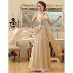 Australia Formal Evening Dress Champagne Plus Sizes Dresses A-line V-neck Long Floor-length Satin