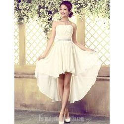 Asymmetrical Tulle Bridesmaid Dress Ivory A-line Strapless