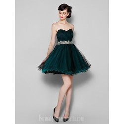 Australia Cocktail Party Dress Dark Green Plus Sizes Dresses Petite A-line Sweetheart Short Knee-length Tulle