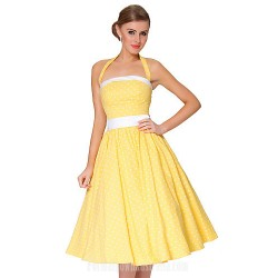 Australia Formal Dresses Cocktail Dress Party Dress Daffodil Plus Sizes Dresses A-line Spaghetti Straps Short Knee-length Cotton