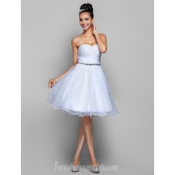 Australia Cocktail Party Dresses Prom Gowns Holiday Dress White Plus Sizes Dresses Petite A-line Princess Sweetheart Short Knee-length Organza