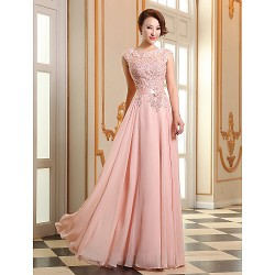 Australia Formal Dress Evening Gowns Pearl Pink Ruby Plus Sizes Dresses A-line Jewel Long Floor-length Georgette