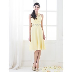 Short Knee-length Chiffon Bridesmaid Dress Daffodil Plus Sizes Dresses Petite A-line Princess High Neck