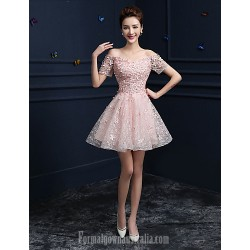 Australia Formal Dress Evening Gowns Candy Pink A Line Off The Shoulder Short Knee Length Lace
