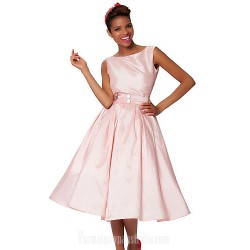 Australia Formal Dresses Cocktail Dress Party Dress Blushing Pink Plus Sizes Dresses A-line Bateau Short Knee-length Taffeta