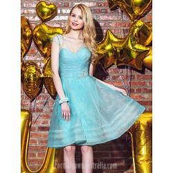 Bridesmaid Dress Short Knee-length Organza A-line V-neck Dress