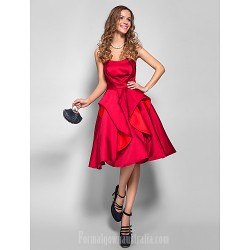 Australia Formal Dresses Cocktail Dress Party Dress Holiday  Dress Burgundy Plus Sizes Dresses Petite A-line Strapless Short Knee-length Satin