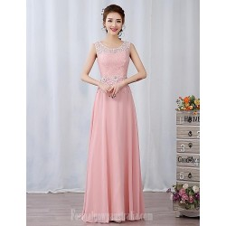 Dress Candy Pink A Line Jewel Long Floor Length Chiffon Lace