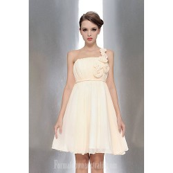 Short Knee Length Chiffon Bridesmaid Dress Champagne White Ruby Fuchsia Lavender A Line Sexy One Shoulder Strapless