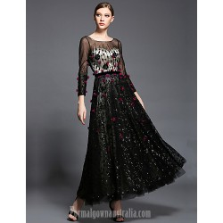 Australia Formal Dress Evening Gowns Black Ball Gown Scoop Ankle Length Tulle Charmeuse Sequined