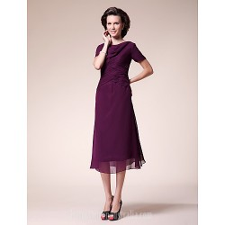 A-line Plus Sizes Dresses Petite Mother of the Bride Dress Grape Tea-length Short Sleeve Chiffon