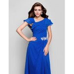 Australia Formal Evening Dress Military Ball Dress Ocean Blue Plus Sizes Dresses Petite A-line Square Long Floor-length Chiffon Formal Dress Australia