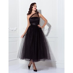 Prom Gowns Australia Formal Dress Evening Gowns Wedding Party Dress Black Plus Sizes Dresses Petite A-line Princess Sexy One Shoulder Ankle-length Tulle