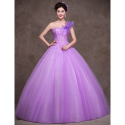 Australia Formal Dress Evening Gowns Lilac Petite Ball Gown Sexy One Shoulder Long Floor-length Satin Tulle Stretch Satin