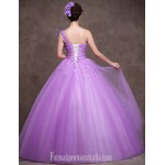 Australia Formal Dress Evening Gowns Lilac Petite Ball Gown Sexy One Shoulder Long Floor-length Satin Tulle Stretch Satin Formal Dress Australia