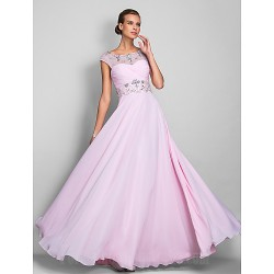 Prom Gowns Military Ball Australia Formal Dress Evening Gowns Blushing Pink Plus Sizes Dresses Petite A-line Scoop Long Floor-length Chiffon