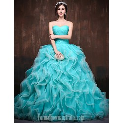 Australia Formal Dress Evening Gowns Pool Watermelon Petite Ball Gown Sweetheart Chapel Train Satin Tulle Polyester