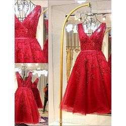 Australia Formal Dresses Cocktail Dress Party Dress Burgundy A-line V-neck Short Knee-length Lace Tulle