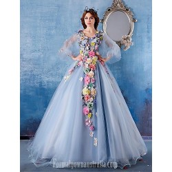 Australia Formal Dress Evening Gowns Light Sky Blue Ball Gown V-neck Chapel Train Satin
