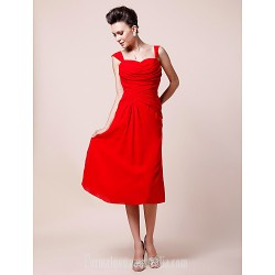 A-line Plus Sizes Dresses Petite Mother of the Bride Dress Ruby Tea-length Sleeveless Chiffon
