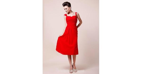 4e1cf3486c A-line Plus Sizes Dresses Petite Mother of the Bride Dress Ruby Tea-length  Sleeveless Chiffon Formal Dress Australia - Formalgownaustralia.com