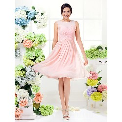 Short Knee-length Georgette Bridesmaid Dress Pearl Pink Plus Sizes Dresses Petite A-line Jewel