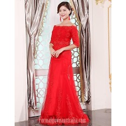 Australia Formal Dress Evening Gowns Ruby Plus Sizes Dresses A-line Off-the-shoulder Long Floor-length Tulle Dress