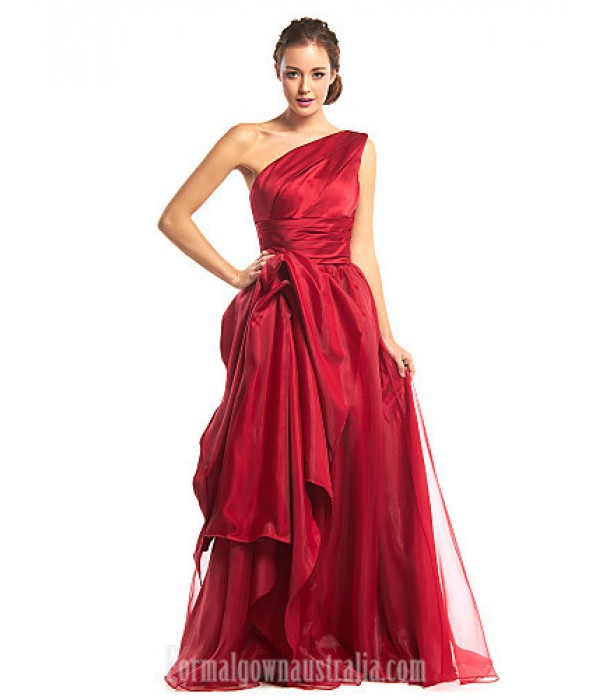 Australia Formal Dress Evening Gowns Burgundy A-line Sexy One Shoulder Long Floor-length Organza Satin Formal Dress Australia