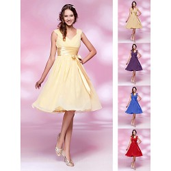 Short Knee-length Chiffon Bridesmaid Dress Daffodil Ruby Grape Royal Blue Champagne Plus Sizes Dresses Petite A-line Princess V-neck