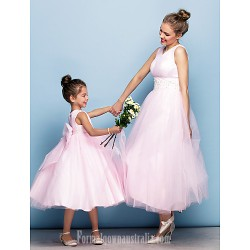 Australia Formal Evening Dress Blushing Pink Plus Sizes Dresses Petite Ball Gown V-neck Tea-length Tulle
