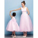 Australia Formal Dress Evening Gowns Blushing Pink Plus Sizes Dresses Petite Ball Gown V-neck Tea-length Tulle Formal Dress Australia