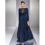 Australia Formal Dress Evening Gowns Military Ball Dress Dark Navy Plus Sizes Dresses Petite A-line Bateau Long Floor-length Chiffon Formal Dress Australia