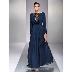 Australia Formal Evening Dress Military Ball Dress Dark Navy Plus Sizes Dresses Petite A-line Bateau Long Floor-length Chiffon